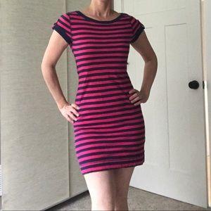 Blue and pink striped mini dress